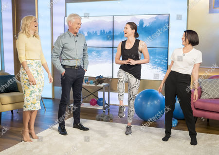 Stock Image of Holly Willoughby and Phillip Schofield with Holly Davidson and Sadie Frost