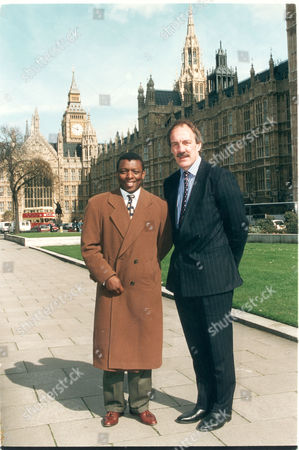 Ex. Footballer Garth Crooks & Rugby Coach Roger Uttley Standing Outside The House-of-commons. (assignment House-of-commons Sports/education Meeting.