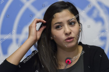 Yusra Mardini, UNHCR Goodwill Ambassador, speaks to the media about the Appointment of Syrian refugee and Olympic athlete Yusra Mardini as UNHCR Goodwill Ambassador during a press conference, at the European headquarters of the United Nations in Geneva