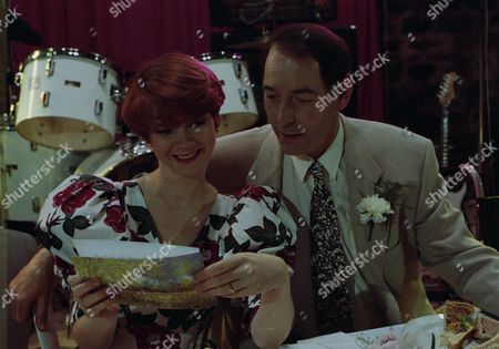 Emmerdale villagers gather for Jack and Sarah's wedding reception - with Jack Sugden, as played by Clive Hornby, and Sarah Connolly, as played by Madeleine Howard. (Ep 1870 - 19th May 1994).