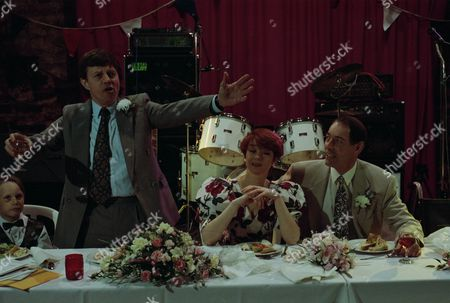 Emmerdale villagers gather for Jack and Sarah's wedding reception, as Joe gives the best man's speech - with Jack Sugden, as played by Clive Hornby ; Sarah Connolly, as played by Madeleine Howard ; Joe Sugden, as played by Frazer Hines, and others. (Ep 1870 - 19th May 1994).