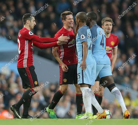 City's Fernandinho AND City's Yaya Toure BUNCH UP ON Uniteds Ander Herrera WHICH CAUSES Angy EXCHANGE