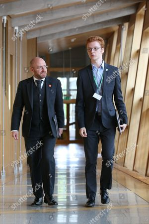 Patrick Harvie, Co-convener of the Scottish Greens, and Ross Greer, make their way to the Debating Chamber