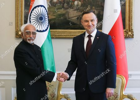Editorial image of Indian vice president Mohammad Hamid Ansari visits Poland, Warsaw - 27 Apr 2017