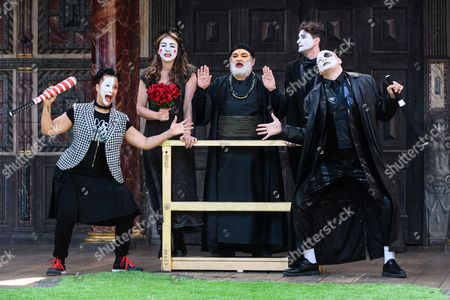 Golda Rosheuvel (Mercutio), Kirsty Bushell (Juliet), Harish Patel (Friar Lawrence), Edwrd Hogg (Romeo), Ricky Champ (Tybalt)