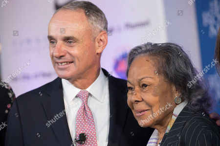 Rachel Robinson, Robert D. Manfred, Jr Major League Baseball Commissioner Robert D. Manfred, Jr., left, speaks to Rachel Robinson, widow of Jackie Robinson, during a ceremonial ground breaking for the Jackie Robinson Museum, in New York