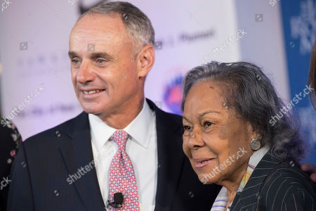 Rachel Robinson, Robert D. Manfred, Jr Major League Baseball Commissioner Robert D. Manfred, Jr., left, poses with Rachel Robinson, widow of Jackie Robinson, during a ceremonial ground breaking for the Jackie Robinson Museum, in New York