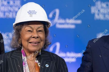 Rachel Robinson, widow of Jackie Robinson, smiles during a ceremonial ground breaking for the Jackie Robinson Museum, in New York