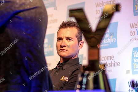 Thomas Voeckler (Direct Energie), defending champion for the third Tour de Yorkshire with the trophy in the foreground during the Tour de Yorkshire Press Conference at the National Railway Museum, York