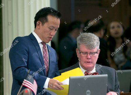 David Chiu, Mark Stone Assemblyman David Chu, D-San Francisco, left, talks with Assemblyman Mark Stone, D-Scotts Valley, after the Assembly unanimously passed Chiu's rape kit bill, in Sacramento, Calif. If approved by the Senate and signed by the governor, Chiu's measure, AB41, would require police departments to track the status of rape kits in an effort to reduce the backlog of untested evidence