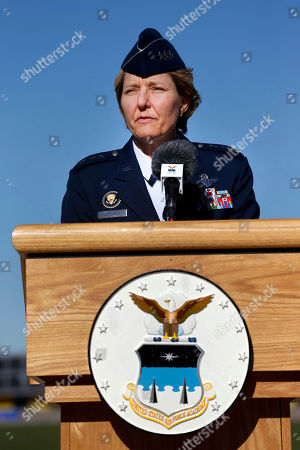 U.S. Air Force Academy Superintendent Lt. Gen. Michelle Johnson speaks with members of the media about the effects of the government shutdown during a news conference at the academy at Air Force Academy, Colo. On Thursday, April 27, 2017, Johnson, the first woman to lead the academy, announced that she will retire in 2017