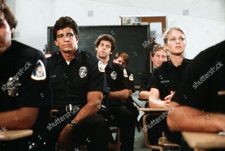 'Policewoman Centerfold' TV - 1983 -  Jennifer Oaks (Melody Anderson) and Nick Velano (Ed Marinaro) study in the police classroom.