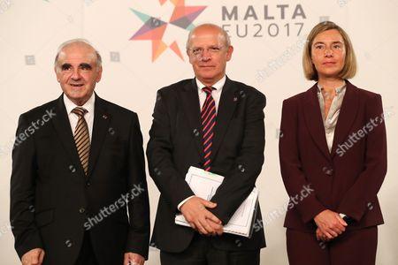 Stock Photo of Augusto Santos Silva, George Vella and Federica Mogherini