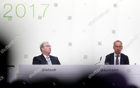 Bayer's CFO Johannes Dietsch (L) and Werner Baumann (R), CEO of German pharmaceutical company Bayer, attend the annual stockholders meeting of Bayer AG in Bonn, Germany, 28 April 2017. Bayer reported 2016 was a very successful year both strategically and operationally.