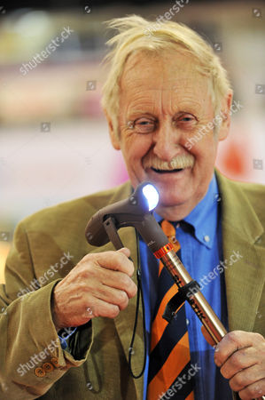Trevor Baylis with his new Slik-Stick which features a wind-up torch and magnet in the handle.