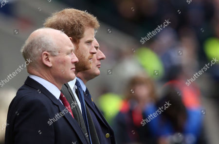 Prince Harry - Patron of Invictus Games Foundation who are charity for the 100th Army Navy Match Army Rugby Union President Lieutenant General Sir John Lorimer KCB DSO MBE Royal Navy Rugby Union President Admiral Sir Philip Jones KCB ADC Stand for the National Anthems