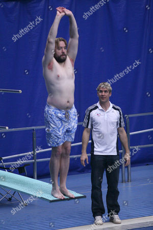 Justin Lee Collins Gets Some Some Last Minute Advice From  Olympic Diver Leon Taylor  at Ponds Forge Diving Pool