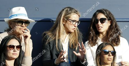 Rafa Nadal's girlfriend Maria Francisca Perello (R) his mother Ana Maria Parera (L) and a friend (C) look his match against South Korean Chung Hyeon during their quarter final match of the 65 edition of the Conde Godo Trophy, in Barcelona, northeastern Spain, on 28 April 2017.