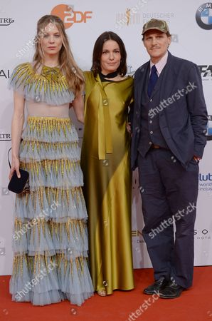 German actors Lilith Stangenberg (L-R), Georg Friedrich and Nicolette Krebitz arrive on the red carpet for the 67th German Film Awards at the Palais am Funkturm venue in Berlin, Germany, 28 April 2017. The Lola awards are presented in 18 categories.