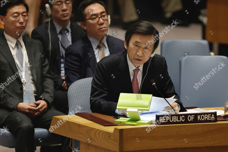 Stock Photo of South Korea's Foreign Minister Yun Byung-se delivers his remarks in the Security Council at United Nations headquarters
