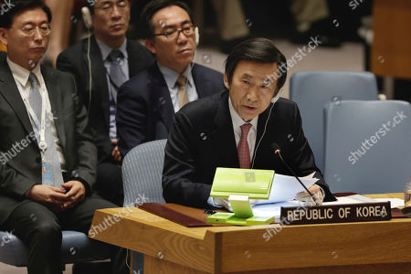 South Korea's Foreign Minister Yun Byung-se delivers his remarks in the Security Council at United Nations headquarters