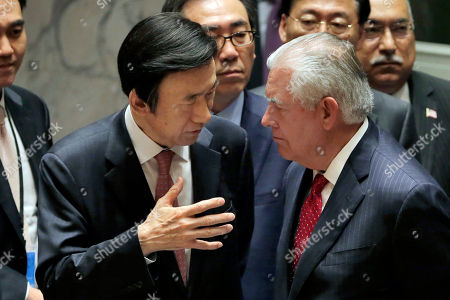 Rex W. Tillerson, Yun Byung-se South Korea's Foreign Minister Yun Byung-se, left, talks with U.S. Secretary of State Rex Tillerson after a meeting of the Security Council at United Nations headquarters