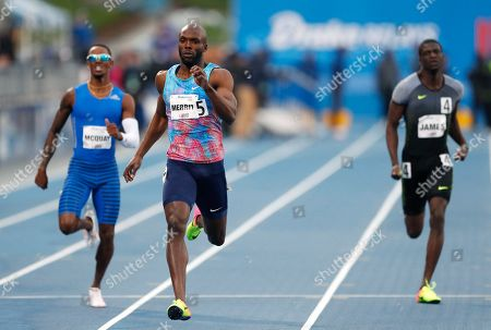 LaShawn Merritt, Tony McQuay, Kirani James LaShawn Merritt, center, beats Tony McQuay, left, and Kirani James, right, to the finish line to win the men's special 400 meters at the Drake Relays athletics meet, in Des Moines, Iowa
