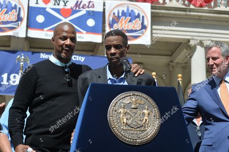 Stock Image of Darryl Strawberry, Dwight Gooden and Mayor Bill de Blasio