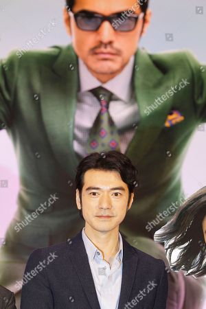 """Japanese actor Takeshi Kaneshiro poses for press during a media event promoting his new movie """"This Is Not What I Expected"""" in Taipei, Taiwan"""
