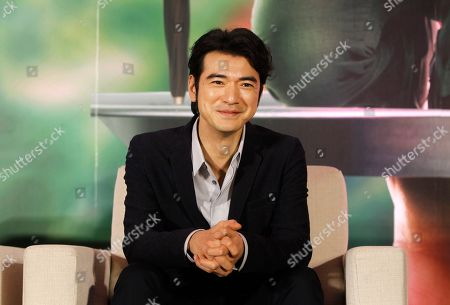 """Japanese actor Takeshi Kaneshiro answers to press during a media event promoting his new Movie """"This Is Not What I Expected"""" in Taipei, Taiwan"""