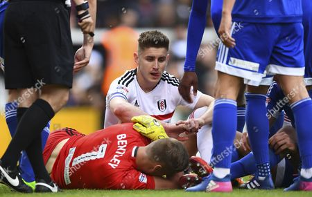 Stock Picture of Tom Cairney of Fulham after having a penalty saved by Brentford goalkeeper David Bentley during the Sky Bet Championship match between Fulham and Brentford played at Craven Cottage, London on 29th April 2017