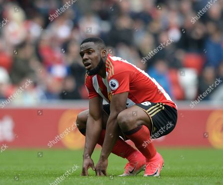 Victor Anichebe of Sunderland is dejected during the Premier League match between Sunderland and AFC Bournemouth played at Stadium of Light, Sunderland on 29th April 2017