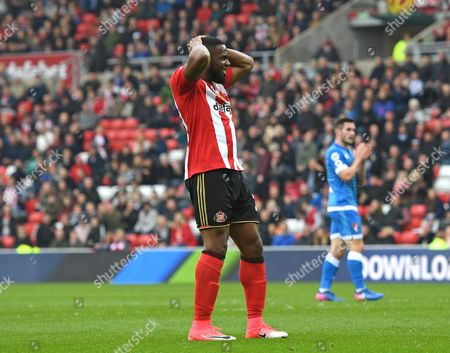 Victor Anichebe of Sunderland rues a missed chance on goal during the Premier League match between Sunderland and AFC Bournemouth played at Stadium of Light, Sunderland on 29th April 2017