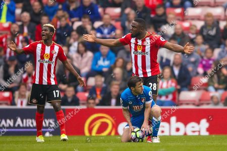 Sunderland forward Victor Anichebe (28) asks the question  during the Premier League match between Sunderland and Bournemouth at the Stadium Of Light, Sunderland