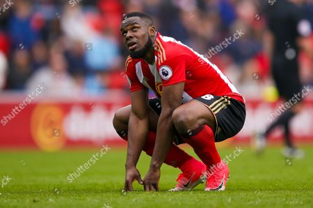 Sunderland forward Victor Anichebe (28) looks to the heavens after a miss during the Premier League match between Sunderland and Bournemouth at the Stadium Of Light, Sunderland