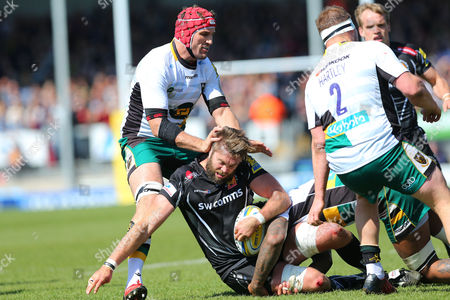 Geoff Parling of Exeter Chiefs during the Aviva Premiership match between Exeter Chiefs and Northampton Saints at Sandy Park on April 29th , Exeter, Devon.