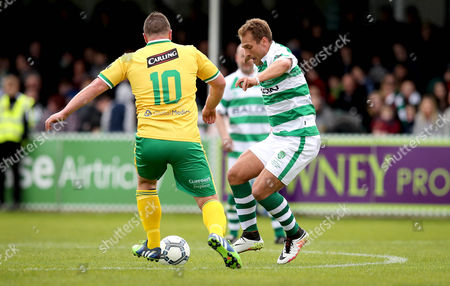 Stock Picture of 1888 Fitness XI vs Celtic Legends. 1888 Fitness XI's Ruairi Byrne and Stiliyan Petrov of Celtic Legends
