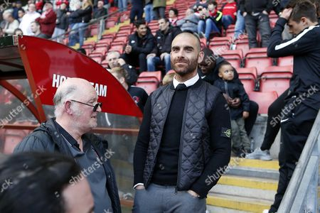 Stock Image of O's manager Omer Riza waiting whilst O's fans protest during Leyton Orient vs Colchester United, Sky Bet EFL League 2 Football at the Matchroom Stadium on 29th April 2017
