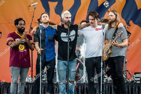 Stock Photo of Maroon 5 - PJ Morton, Jesse Carmichael, Adam Levine and James Valentine