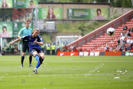 Stock Image of Swindon Town midfielder Anton Rodgers (5) hits the bar from a freekick during the EFL Sky Bet League 1 match between Charlton Athletic and Swindon Town at The Valley, London