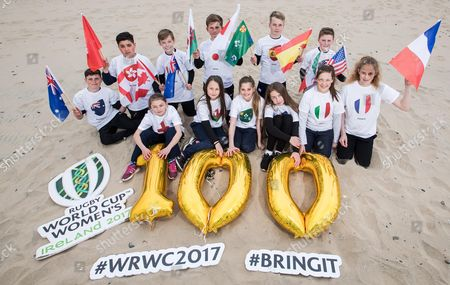 REPRO FREE***PRESS RELEASE NO REPRODUCTION FEE***. 100 Days Until The Women?s Rugby World Cup, Brittas Beach, Co. Wicklow 30/4/2017. 12 players from Wicklow Rugby Club were on hand to welcome the 12 competing teams taking part in this year's Women's Rugby World Cup. The tournament starts on 9th August in UCD before travelling to Belfast. . Limited additional tickets for sold out games have been released via Ticketmaster. Pictured today (Back Row) Eamonn Goddard (Australia), Arun Ladwa (Hong Kong), Thomas Quinn (Canada), Dan Seymour (Japan), Adam Ralph (Spain) and Conor Mitchell (USA). (Front-Row) Amelie Birrell (England), Mia Gillanders (Wales), Mya Neiland (Ireland), Maya Gaynor (New Zealand), Jessica Griffey (Italy) and Ava-Paris Neiland (France)