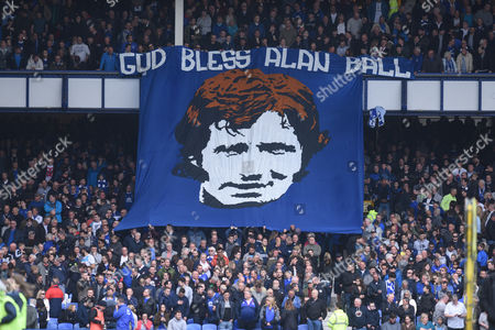 A banner tribute to Alan Ball at Goodison Park
