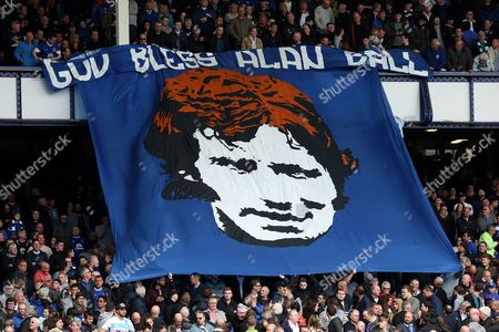 A tribute to Alan Ball is hung in the Gladys Street stand ahead of the Premier League match between Everton and Chelsea played at Goodison Park, Liverpool on the 30th April, 2017