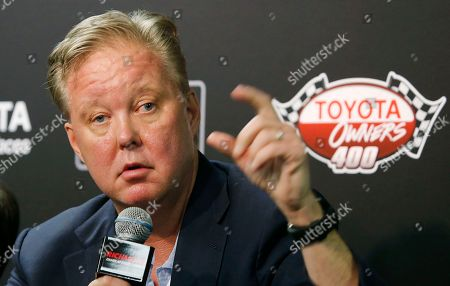 Brain France CEO and Chairman of NASCAR, Brian France, speaks to the media during a news conference prior to the NASCAR Cup Series auto race at Richmond International Raceway in Richmond, Va