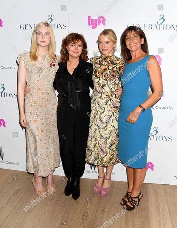 L-R: Elle Fanning, Susan Sarandon, Naomi Watts, Gaby Dellall