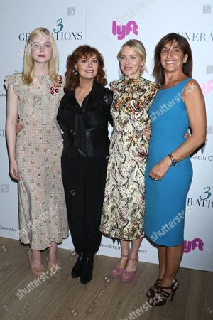 Stock Photo of Elle Fanning, Susan Sarandon, Naomi Watts and Gaby Dellall, director
