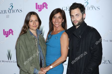 Stock Picture of Domino Kirke, Gaby Dellall, director and Penn Badgley