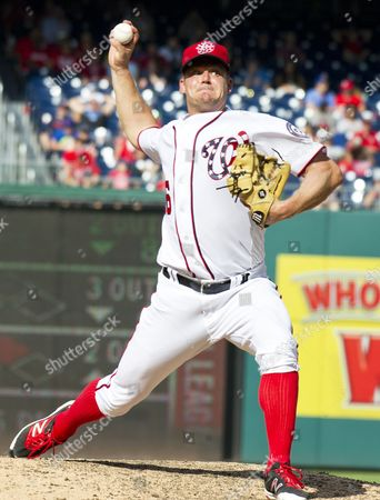 Washington Nationals relief pitcher Joe Blanton (56) pitches in the eighth inning
