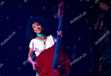U.S Jazz musician and singer Esperanza Spalding performs at the International Jazz Day concert at the Alicia Alonso Theater in Havana, Cuba