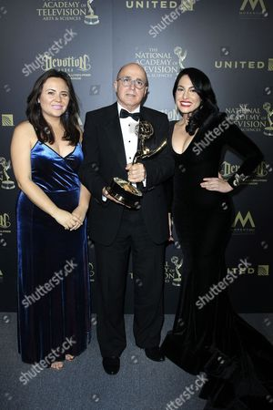 Venezuelan journalist Alejandra Oraa (R), Cuban journalist Eduardo Suarez (C), and journalist Natalie Monterrosa, winners of the Emmy Award for Oustanding Entertainment Programm in Spanish pose in the press room of the 44th Daytime Emmy Awards at the Pasadena Civic Center in Pasadena, California, USA, 30 April 2017. The Daytime Emmy Awards recognize outstanding achievement in all fields of daytime television production.